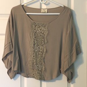 Pins and Needles UO Lace Front Top Taupe